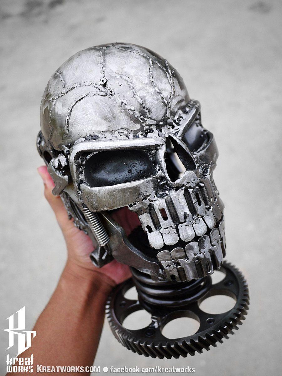 Recycled Metal Skull, via Etsy.
