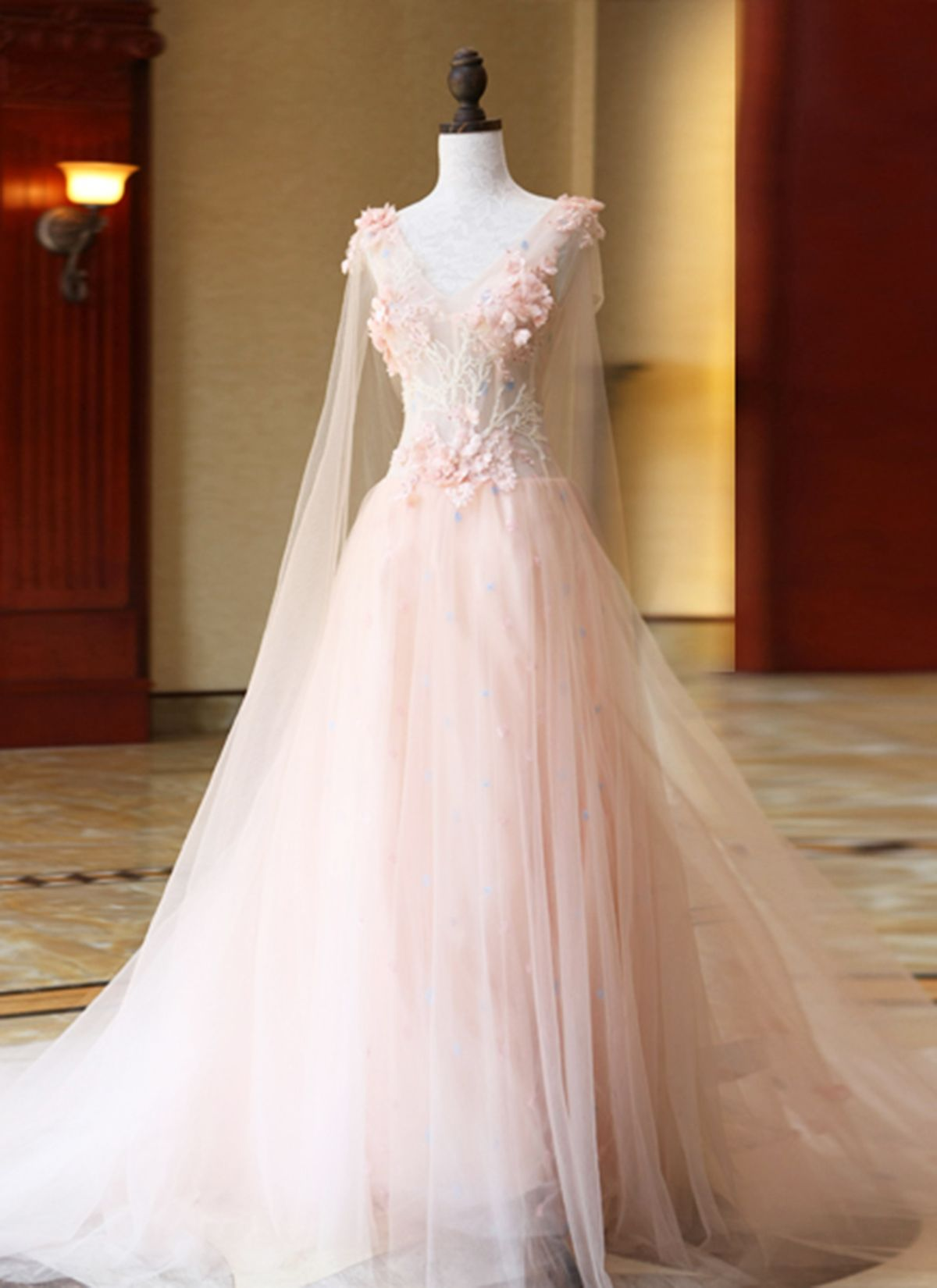 New design pink tulle customize long d lace flower evening dress
