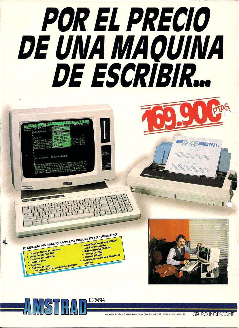 Amstrad PCW8256 #Informatica #vintage #retro #español #publicidad  #ordenadores #computadores #perifericos #anuncios #monitores #hdd #… |  Informática, Retro, 8 bits