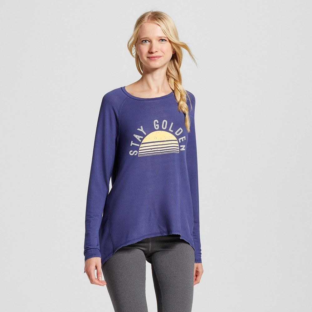 Women's Stay Golden Drapey Long Sleeve Tee Navy Blue XS - Grayson Threads (Juniors')