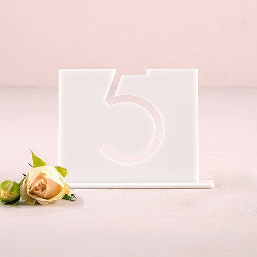 """Unique Table Numbers For Wedding Reception Ideas: Unique Modern White """"Top Aligned"""", Acrylic Wedding"""