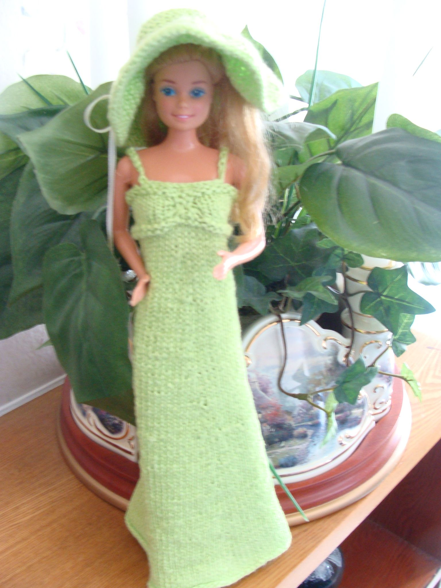 Long lime green dress knitted with hat. I used left over yarn from a previous project.  I think I will attempt another one.