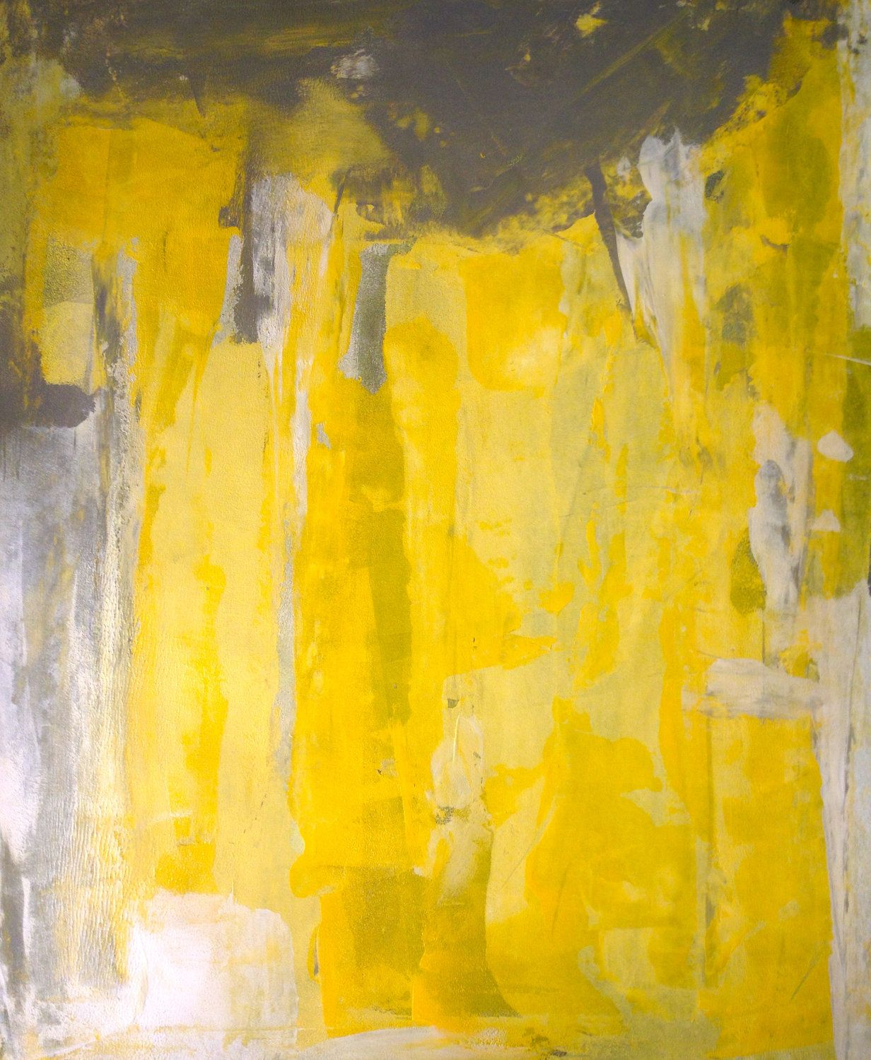 Acrylic Abstract Art Painting Grey, Yellow, and White - Modern ...