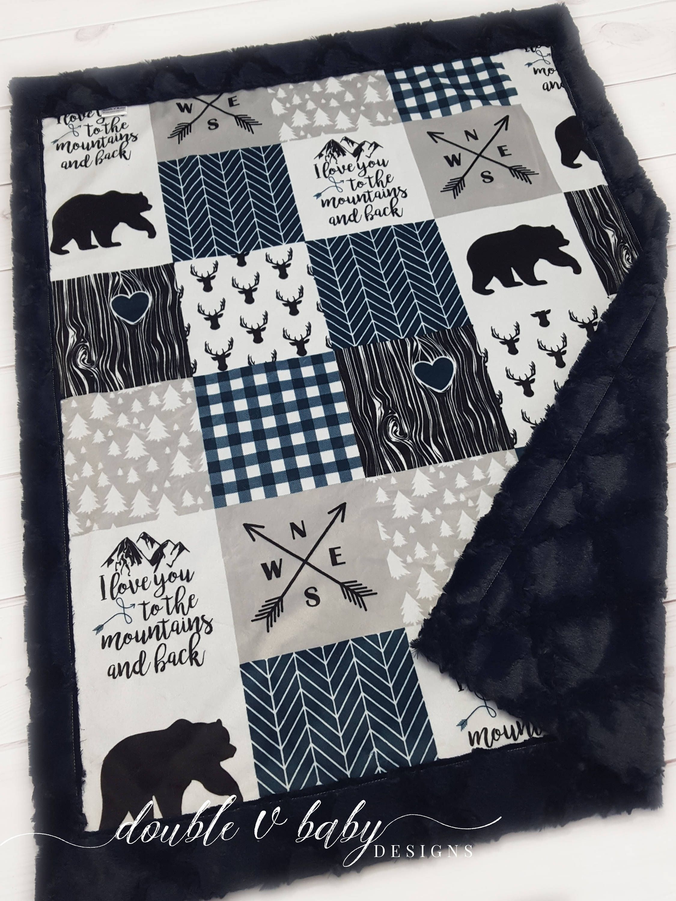 9cbdb2e6817ea I Love You To The Mountains and Back Woodland Minky Baby Blanket ...