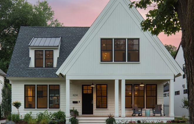 Modern White Farmhouse Exterior With Black Steel Windows Small