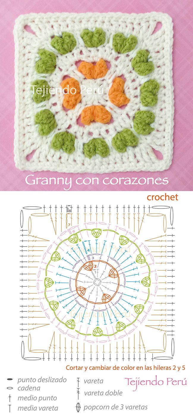Crochet: granny o cuadrado tejido a crochet inspirado en el punto ...