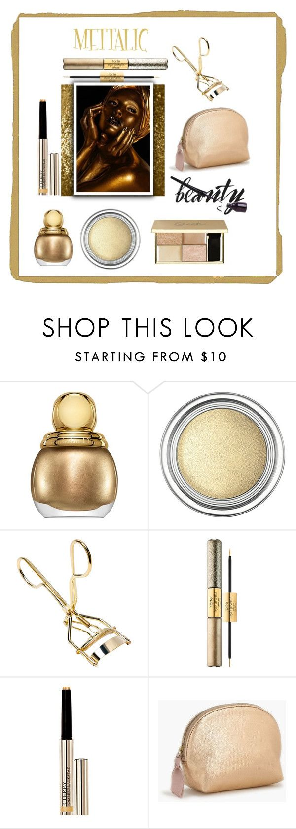 """""""Shine On~ Metallic Makeup"""" by aharcaki ❤ liked on Polyvore featuring beauty, Christian Dior, tarte, By Terry and J.Crew"""