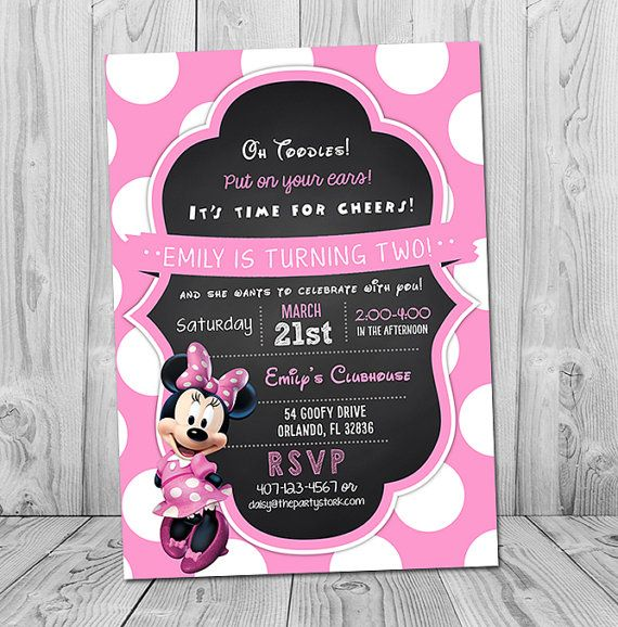 Minnie Mouse Invitation, Minnie Birthday Invitation, Printable - best of birthday invitation card write up