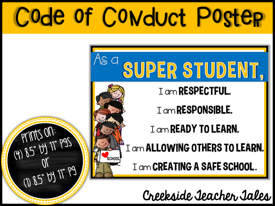 Code of Conduct Poster Freebie Safe schools, Skills to