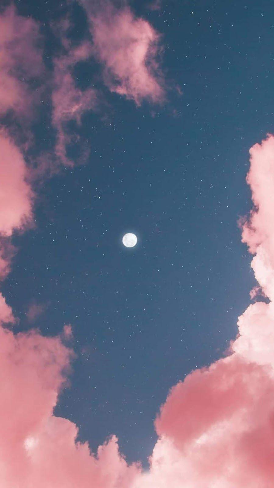 Full Moon In Pink Sky By Matialonsor Latar Belakang Wallpaper