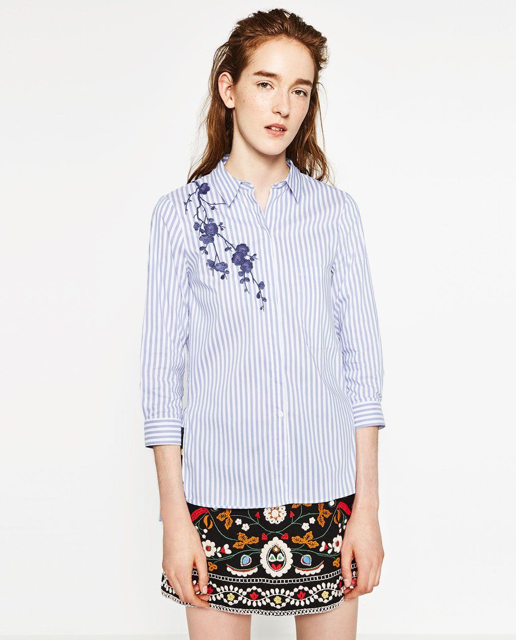 Image 2 Of EMBROIDERED SHIRT From Zara | Zara | Pinterest | Zara United States Zara Women And Woman