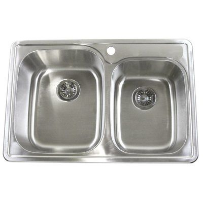 eModern Decor 33  L x 22  W Double Bowl Kitchen Sink  sc 1 st  Pinterest & eModern Decor 33