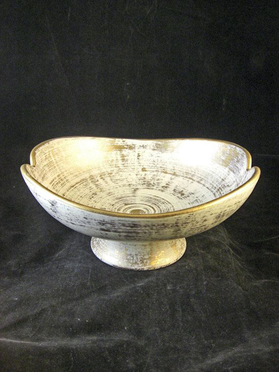 Haeger gold tweed footed centerpiece bowl 306 vintage kitsch tweed and kitsch - Footed bowl centerpiece ...