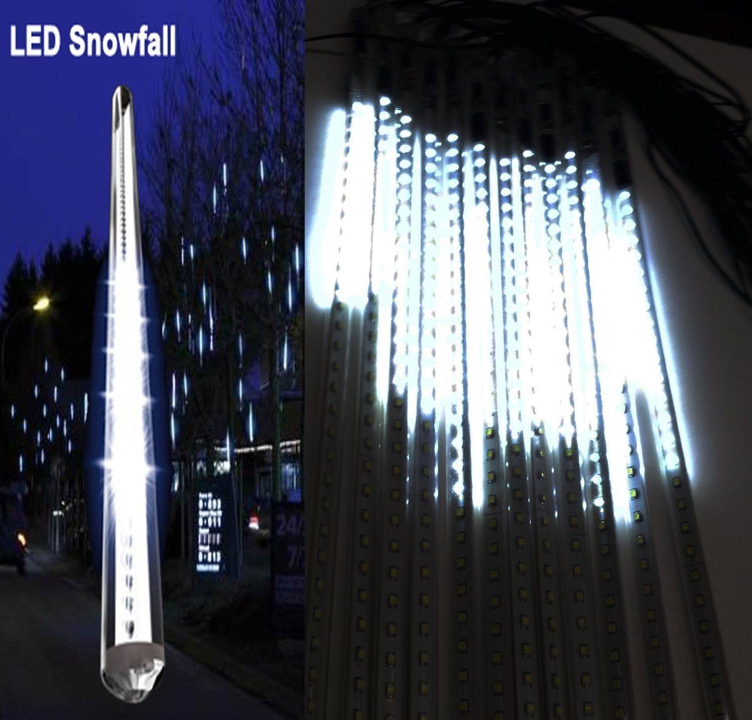 20 Inches Linkable Snow White Led Snowfall Lights Double Sided Wiring Up Outdoor Waterproof Transformer 16ft Wire Extension Set Of 12 Link To 3 Sets Tubes