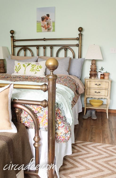 bedroom styling vintage brass bed ticking shams french provincial furniture brass - Brass Beds