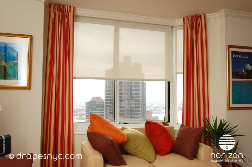 Red/White Striped stationary drapery panels installed in a living ...