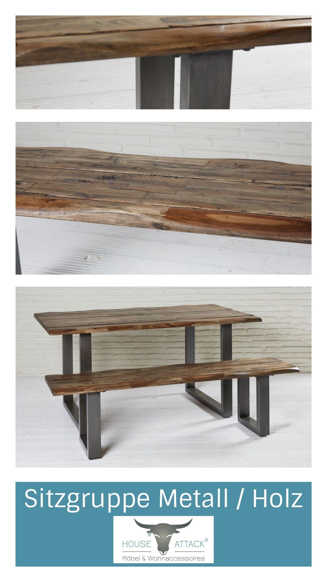 Massive Sitzgruppe Sitzbank Und Tisch Aus Akazienholz Und Metall