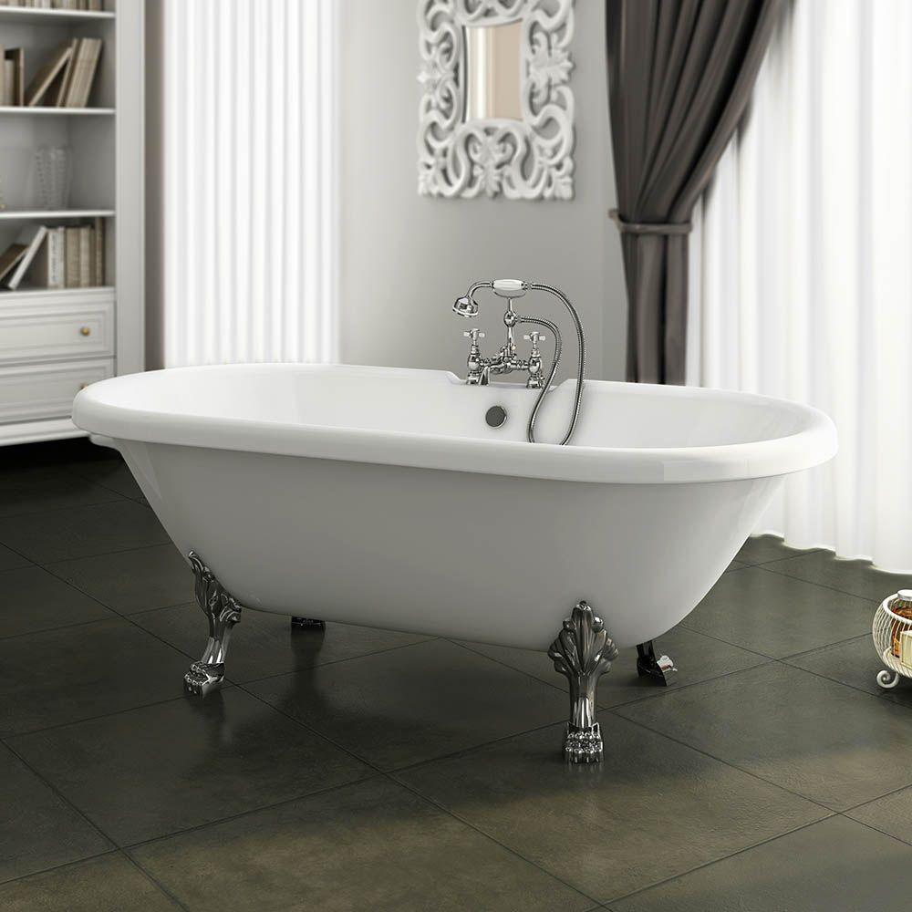 del duke double ended roll top bath with chrome leg set profile ...