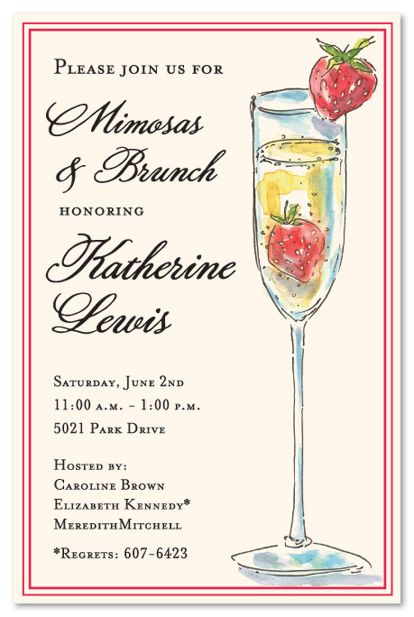 Wedding Brunch Invitations, Unique Tall Mimosa Strawberry Not - lunch invitation templates