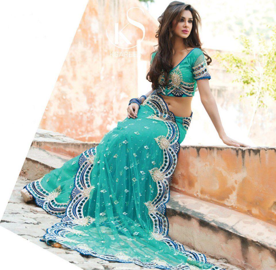 Elegant designer aqua blue net saree. If you like to purchase or ...