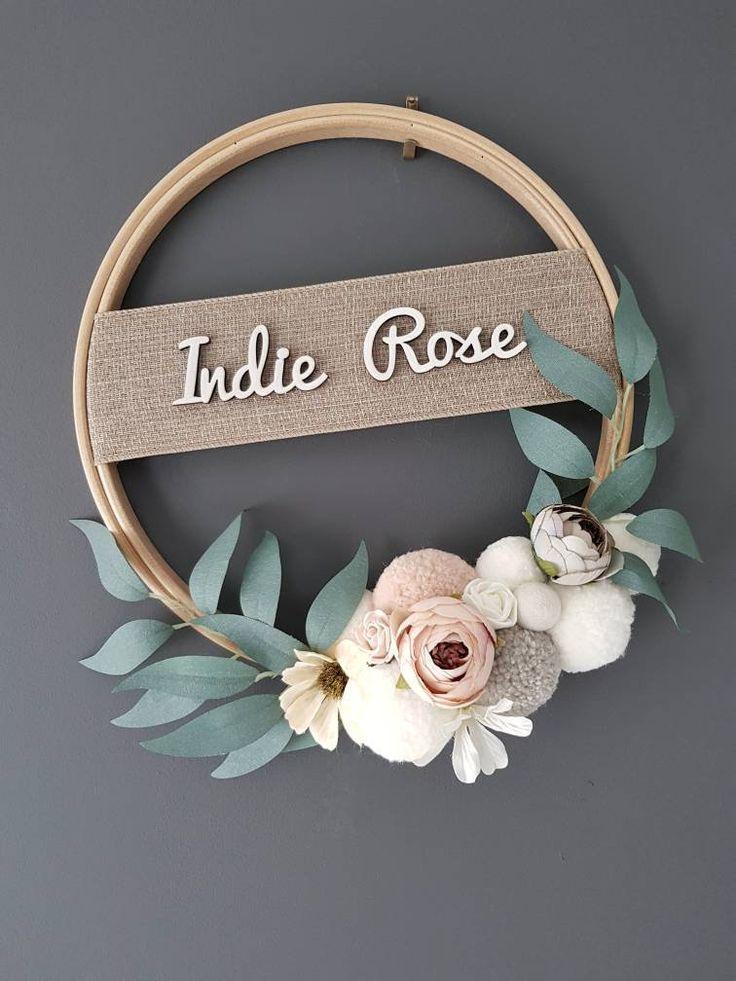 Photo of Name Plaque Hoop Name Türschild Floral Dream Catcher Name   Etsy –