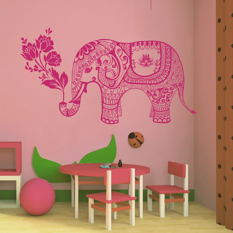 Adhesivos de pared animales elefante indio florece al beb for Adhesivos pared bebe