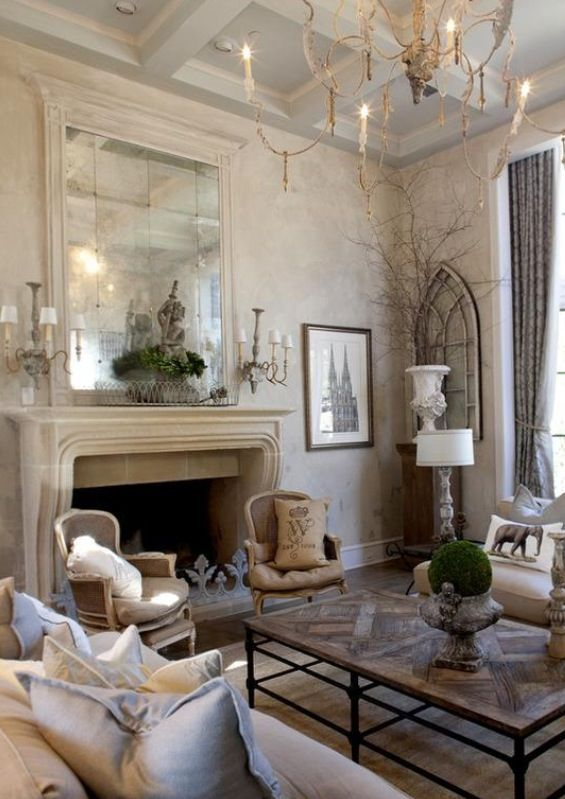 40 cozy living room decorating ideas rustic french for Modern french country house plans