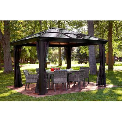 Sojag Ellington 12 Ft W X 9 75 Ft D Metal Permanent Gazebo Gazebo Plans Gazebo Gazebo With Fire Pit