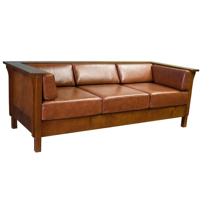Mission Solid Oak Three Sitter Sofa With Real Leather Cushions Pre Order Ready To Ship 10 19 19 In 2020 Leather Cushion Solid Oak Sofa