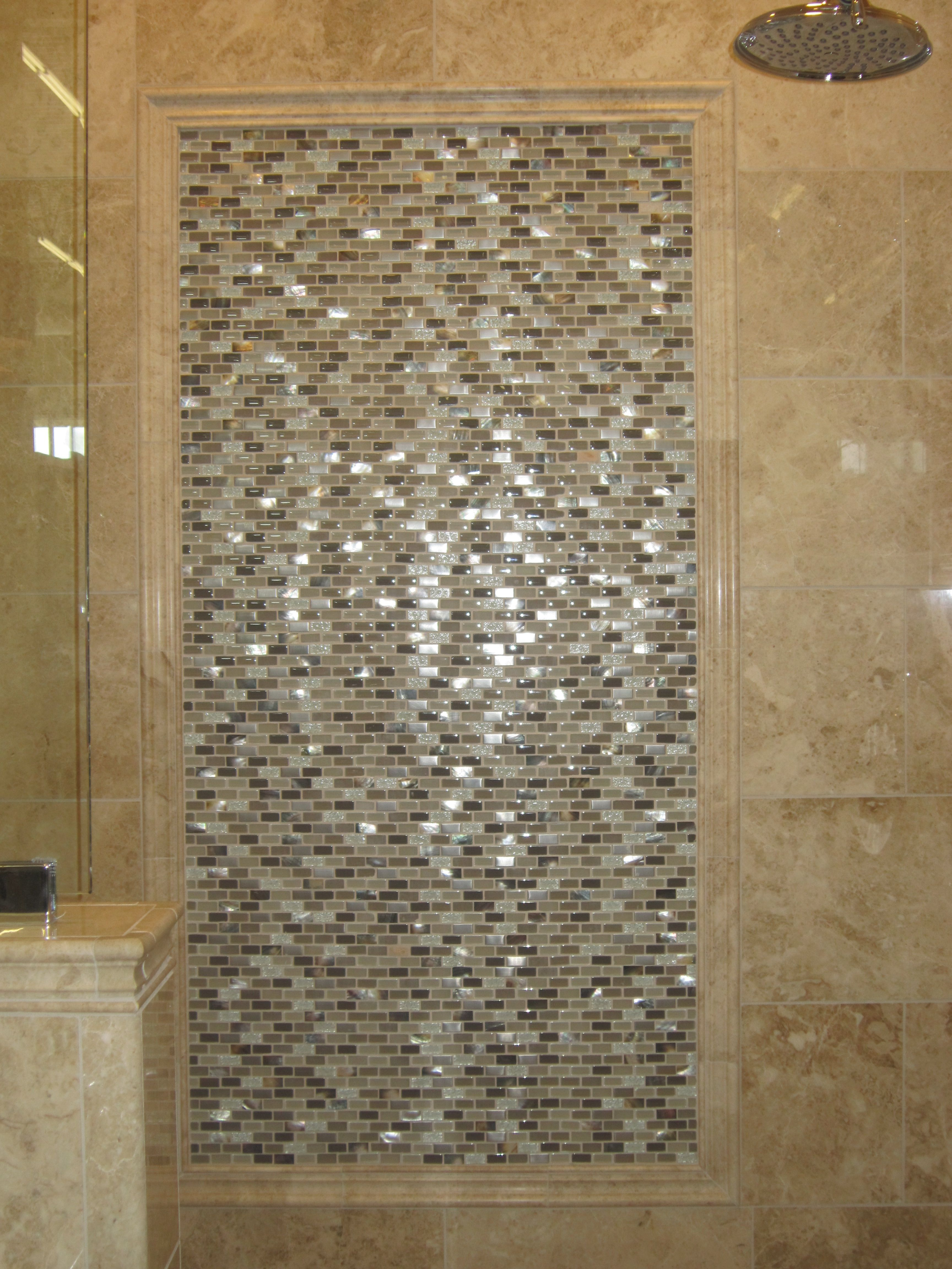 Like A Picture Frame Details For Accent Tile In Shower Versus Having A Whole Wall Done In Accent Det Bathroom Shelf Decor Bathroom Shelves Picture Frame Detail