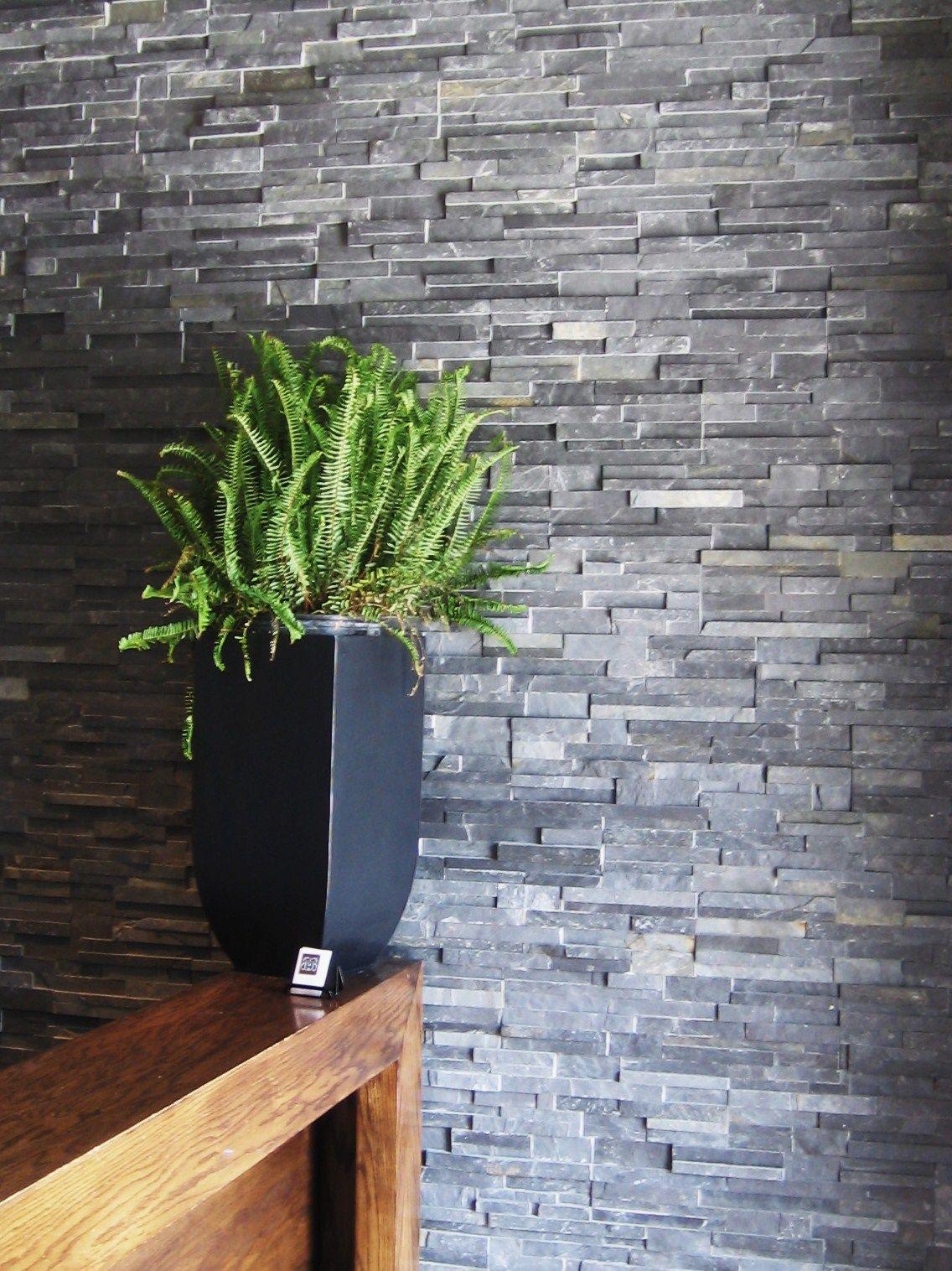 Natural Stone Veneers ǀ Faux Stone Siding ǀ Stone Veneer: Springwood Black Slate By ErthCOVERINGS