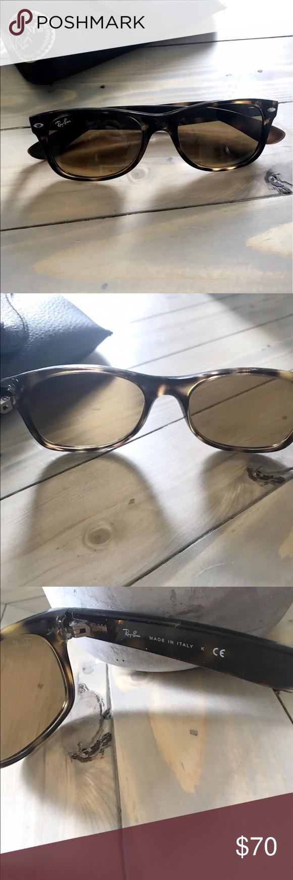 Ray-Ban Tortoise Shell Wayfarers Mint condition! Just maybe a few minor scratches of being picky! These are the tortoise shell wayfarers very popular! Come with case and cleaning cloth, you can see case is ripping slightly but still holds glasses. Ray-Ban Accessories Sunglasses