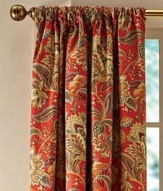Paisley Jacobean Lined Rod Pocket Curtains Country