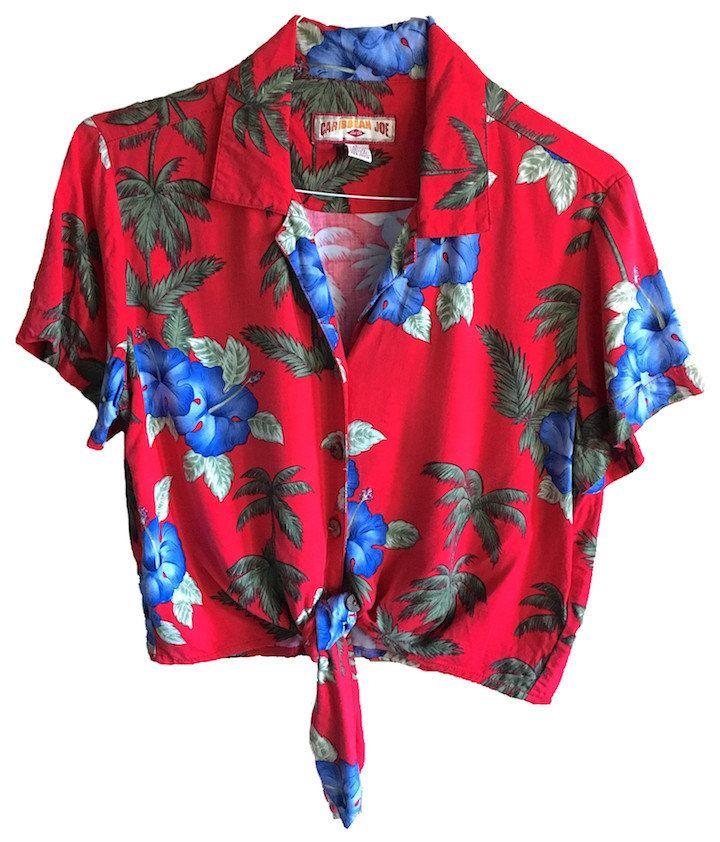 550bd2c9 Vintage Caribbean Joe crop top tie red Hawaiian Shirt Size large womens  floral baggy slinky hawaii palm trees hipster rayon rad by  VELVETMETALVINTAGE on ...