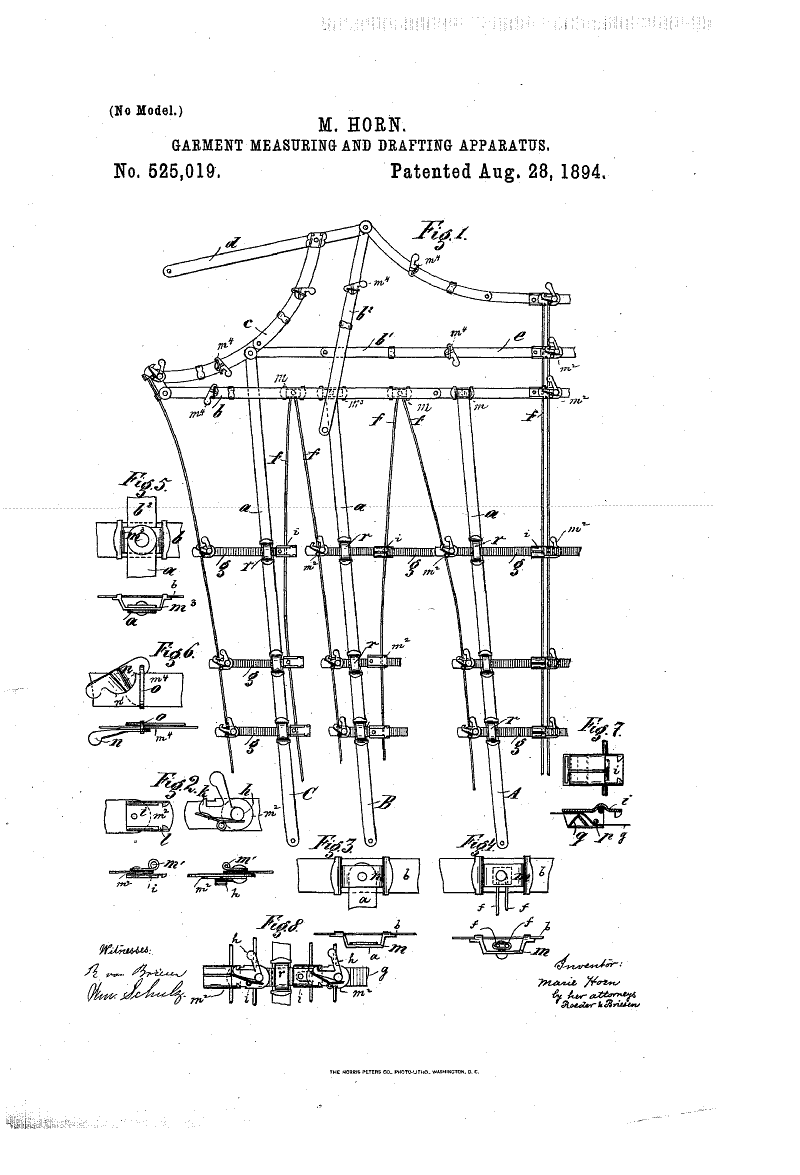 1894 Patent US525019 - MARIE HORN - GARMENT MEASURING AND DRAFTING APPARATUS - Google Patents