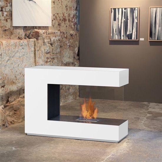 Charming Muenkel Design Loft.line    C 02 Raumteiler Ethanol Kamin: Reinweiß