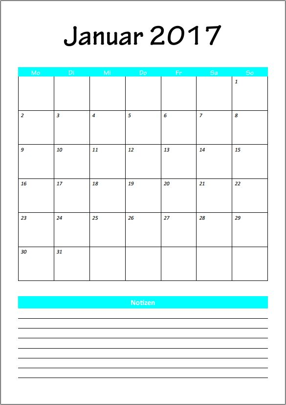 kalender 2017 je 1 monat januar excel pdf vorlage xobbu printable calendar kalender 2017. Black Bedroom Furniture Sets. Home Design Ideas