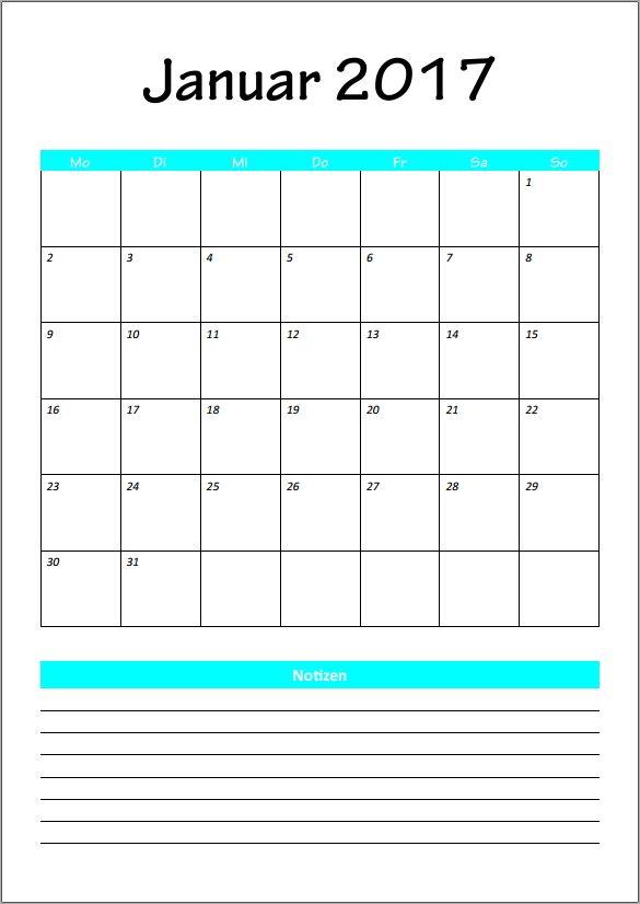 Leerer Monatskalender 10