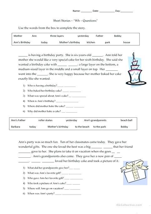 Short Stories Questions Worksheet Free Printable