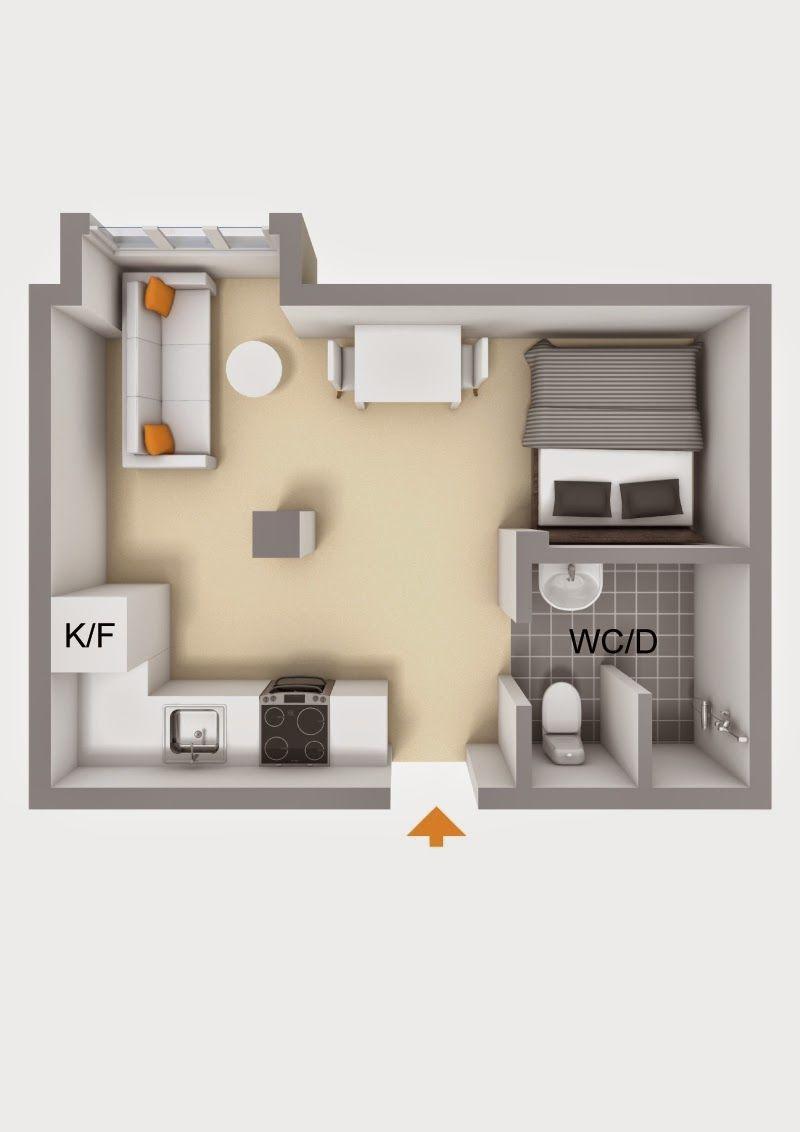 Kasia B Kawalerka 225 Studio Apartment Floor Plans Studio Apartment Layout Small Apartment Design