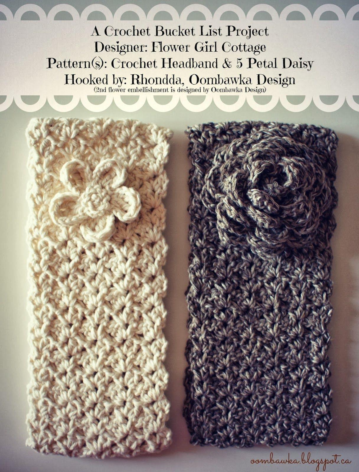 Crochet Headband and 5 Petal Daisy   Gorros, Patrones libres de ...