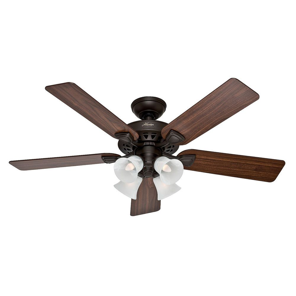 Hunter 52 Traditional New Bronze Finish Ceiling Fan With 4 Bulb Light Kit