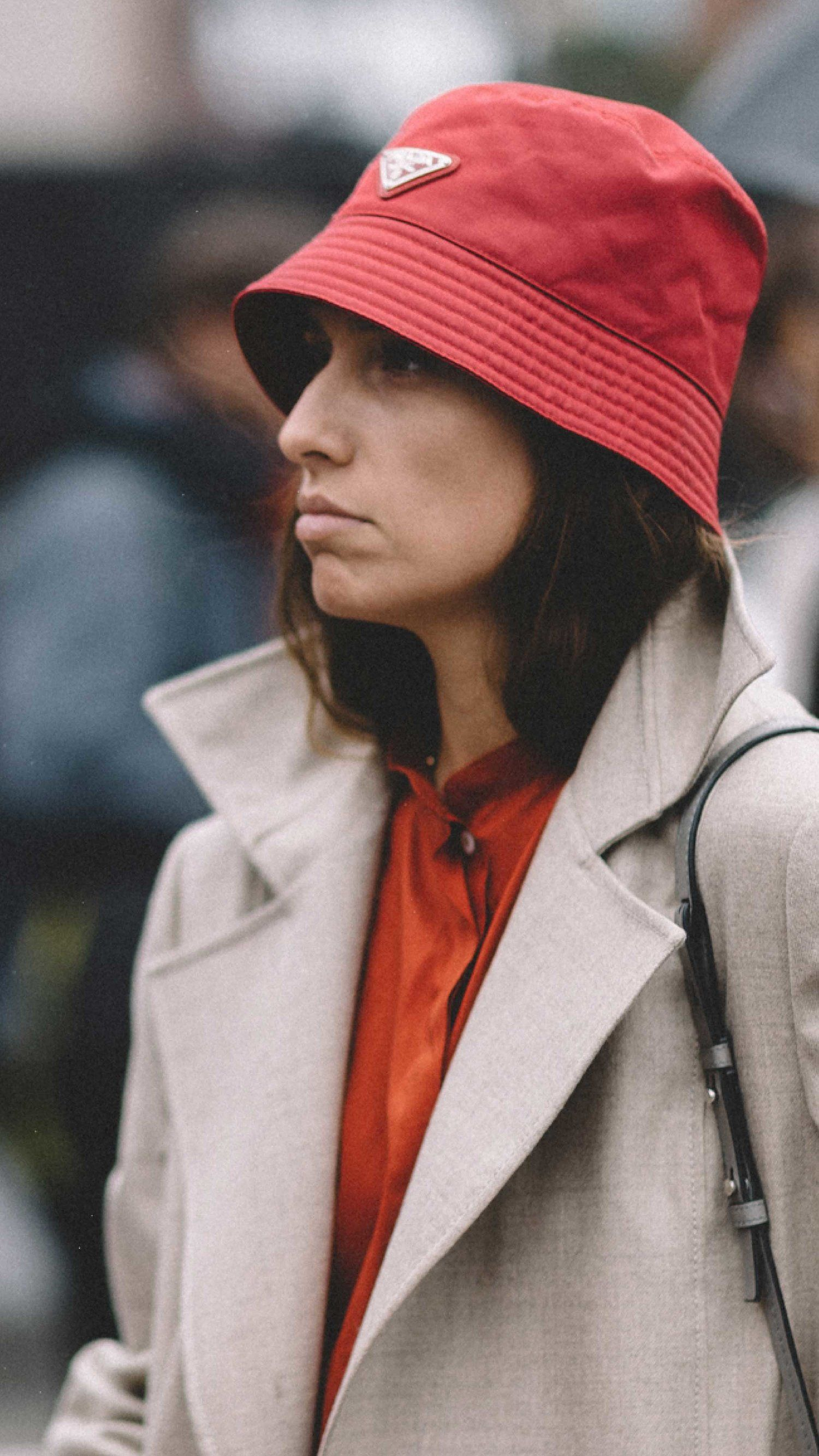 2c588c59b68 New York Fashion Week Spring Summer 2018 street style outfit Prada bucket  hat
