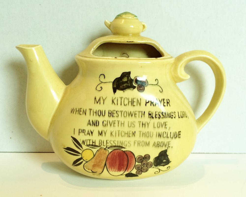 Vintage My Kitchen Prayer Teapot Wall Pocket in Home & Garden, Home ...