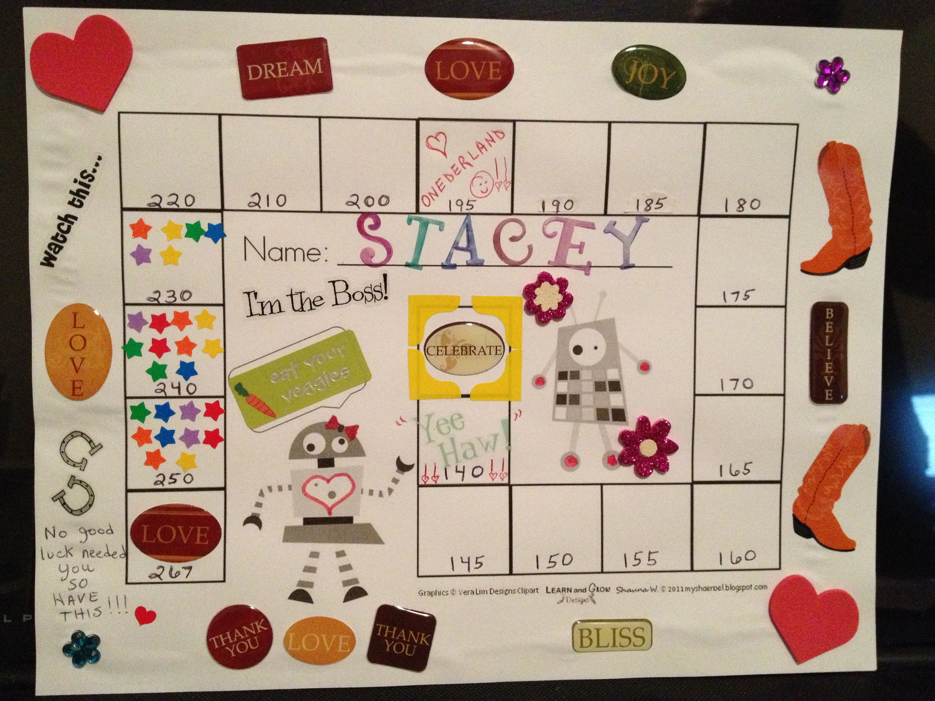 Inspirational 'game board' for weight loss! Riding lessons ...