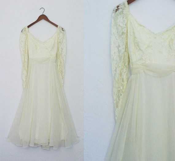 Vintage 1950s 1960s Tea Length Wedding Dress Long Sleeve Lace ...