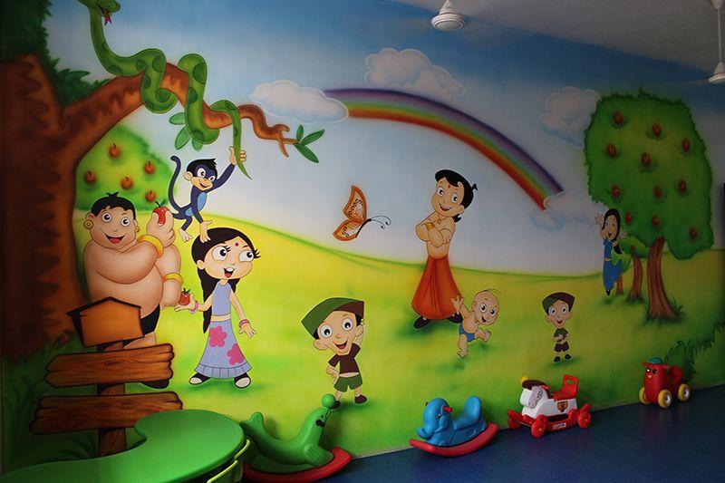 School Wall Painting Amravati School Cartoon Art Amravati School