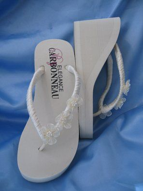 a7ef70f3f6fa1 Amazon.com: High Ivory Wedge Bridal Flip Flops with Organza Flowers ...