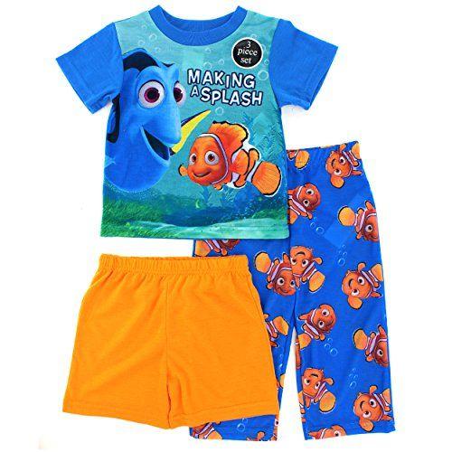 2T, Blue//Orange Disney Finding Dory Boys Lets Explore 4-Piece Cotton Pajama Set