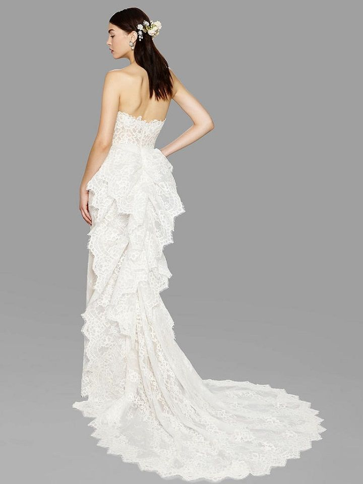 Cascading lace ruffle train wedding dress from Marchesa bridal fall 2017 | fabmood.com #bridal #engaged #weddings #weddingdresses #wedding #weddingdress #bridalgown #weddinggown